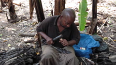 WOOD CARVERS AFRICAN Stock Footage