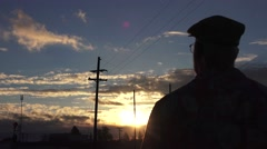Train depot, sun flare Stock Footage