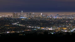4K Panorama Los Angeles Downtown City Skyline Night Timelapse Stock Footage