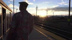 train depot passenger waiting, - stock footage