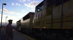 train depot, passing locomotives - stock footage