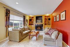 cozy living room with contrast color walls - stock photo