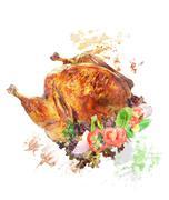 watercolor image of  roasted turkey - stock illustration