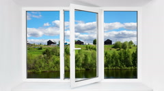 Beautiful view in a modern plastic window Stock Footage