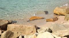Sandy Beach. Beautiful waves mediterranean sea. Paradise Stock Footage