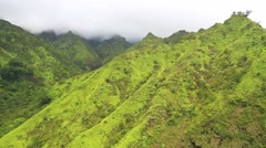 aerial, mt. waialaale, wettest spot on earth, kauai, hawaii - stock footage