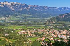 adige valley - ora village - stock photo