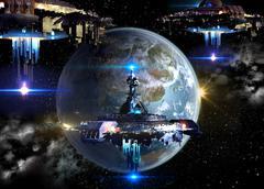 Alien spaceships invading Earth Stock Illustration