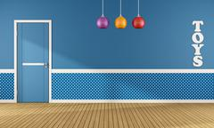 Blue playroom with closed door Stock Illustration