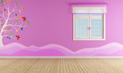 Pink playroom for girl Stock Illustration