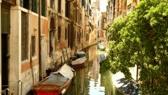Beautiful Venice Canal Vintage House Boat Sea Italy Vacation Tourism Stock Footage