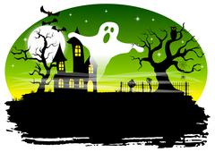 haunted house in a full moon night - stock illustration