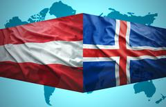 Stock Illustration of waving icelandic and austrian flags