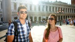 Travel Italy Venice Romantic Couple Tourists Looking Directions Map Technology Stock Footage