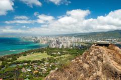 Aerial view of honolulu and waikiki beach from diamond head Stock Photos