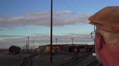 train depot, rail commuter waiting - stock footage