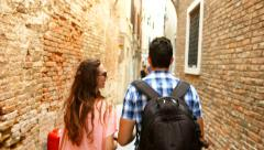 Man Woman Tourism Tourists Italy Vacation Venice Street Lost Walking Stock Footage