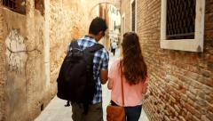 Couple Tourists Walking Street Italy Lost Directions Venice Travel Vacation Stock Footage