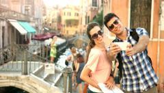 Romantic Tourism Couple Taking Selfie Venetian Bridge Holyday Italy Stock Footage