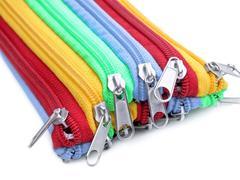 rainbow zippers - stock photo