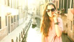 Beautiful Woman Vacation Talking Cell Phone Vacation Italy Happiness Stock Footage