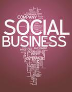 Word cloud social business Stock Illustration