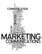 word cloud marketing communications - stock illustration