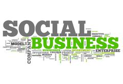 word cloud social business - stock illustration