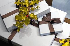 Holly gifts Stock Photos