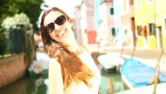 Beautiful Young Shopper Fashionable Girl Italy Shopping Bags Vacation - stock footage
