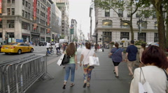 Midtown Manhattan New York City Tourists New Yorkers Walking 5th Ave 4K Stock Footage
