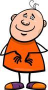 funny happy man cartoon illustration - stock illustration