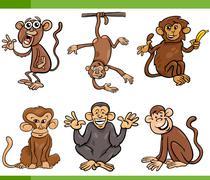 monkeys cartoon set illustration - stock illustration