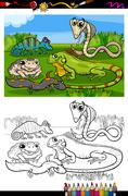 Stock Illustration of reptiles and amphibians coloring book