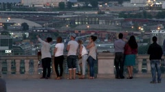 Cityscape - Group of teens taking selfie photo on viewing deck Stock Footage
