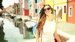 Beautiful Female Fashion Model Shopping Bags Italy Style Sale Stock Footage