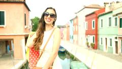 Fashion Lifestyle Beautiful Woman Shopping Europe Vacation Stock Footage