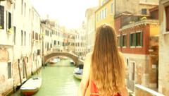 Beautiful Young Woman Red Dress Vacation Travel Venice Italy Stock Footage