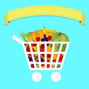 Stock Illustration of grocery cart full of vegetables