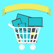 Shopping cart full of electronics Stock Illustration