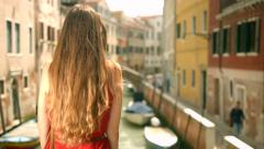 Beautiful Fashion Female Model Red Dress Travel Vacation Italy Holiday Stock Footage