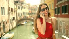 Fashion Tourist Woman Talking Cell Phone Vacation Italy Travel Joy Stock Footage