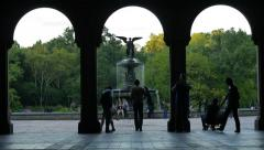 TIME LAPSE TOURISTS NYC BETHESDA FOUNTAIN CENTRAL PARK Stock Footage