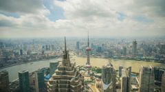 4k resolution Super wide aerial view of Shanghai skyline Stock Footage
