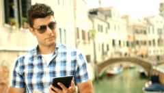 Young Business Man Tablet Pc Italy Travel Technology Concept Stock Footage