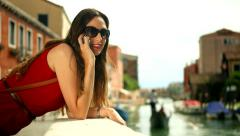 Stylish Fashion Business Woman Talking Phone Italy Travel Vacation - stock footage