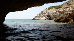 Sea Cave In Syros, Cyclades Islands, Greece. Stock Footage