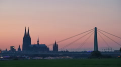 Cologne (Köln) Skyline with the Cathedral, Germany Stock Footage