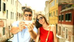 Tourist Couple Taking Selfie Venice Travel Tourism Romance Stock Footage