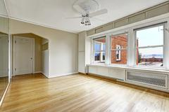 empty apartment interior in old residential building in downtown, seattle - stock photo